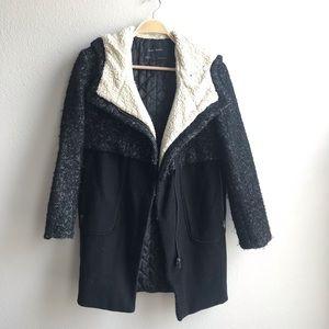 Zara black sherpa long coat